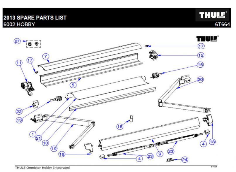 THULE   1500600115 Hand Crank Assembly Long   Thule ...